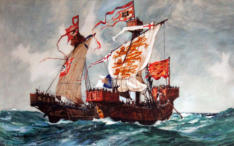 watercolour painting of two 13th century ships in battle