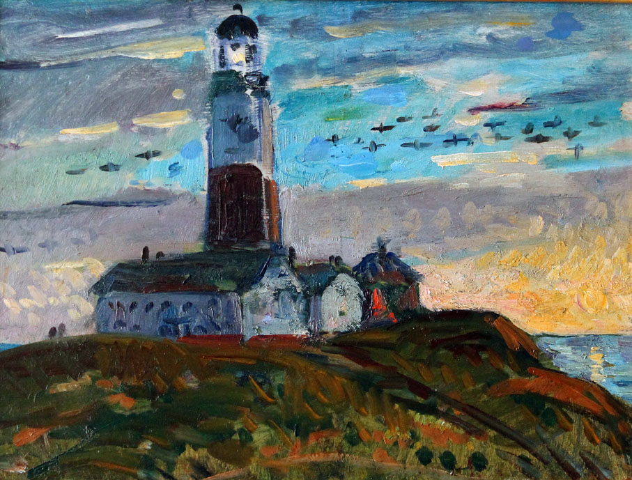oil painting of a lighthouse on Long Island, New York
