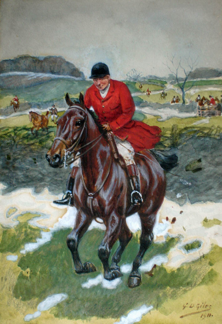 watercolour of a squire on a galloping horse