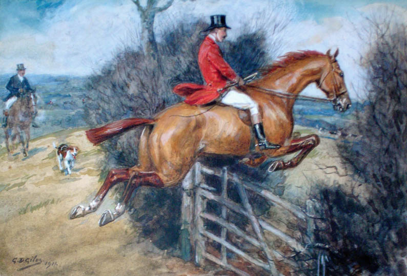 painting showing man on a horse jumping a fence