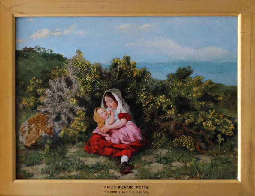 oil painting of girl cradling the baby