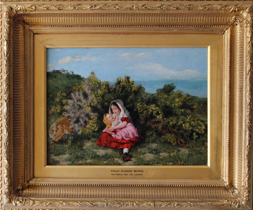 the frame and painting of girl cradling the baby