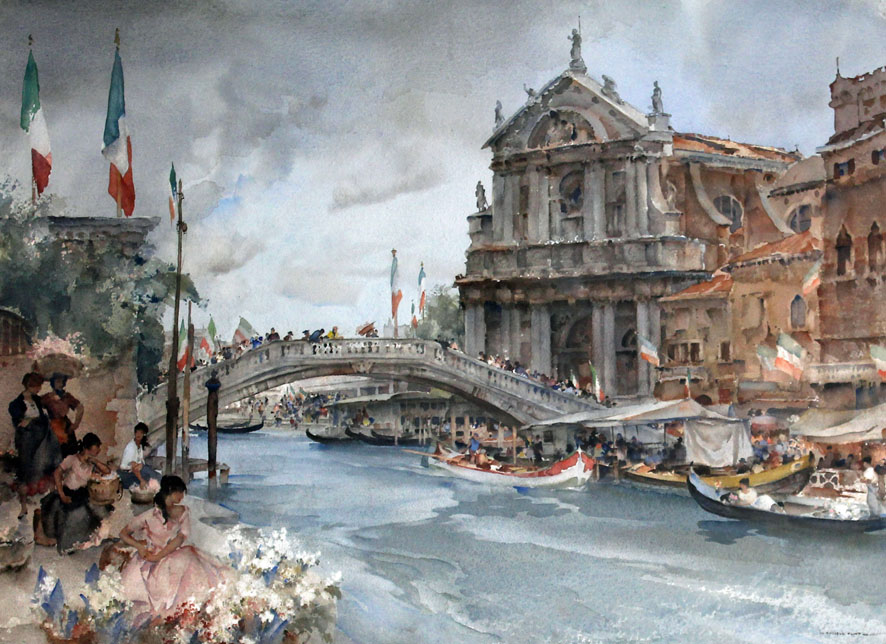watercolour of Venice during a busy festival